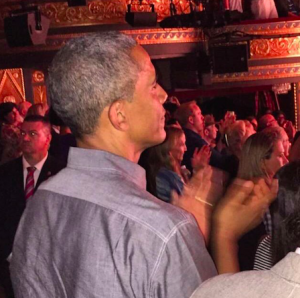 The President and his daughters at curtain call for HAMILTON. Michelle saw it in previews (obvi).