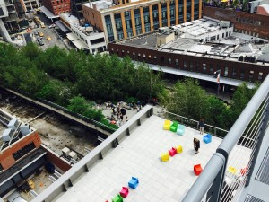 A view from the Whitney Museum's terraces onto the Highline below
